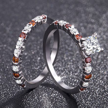 2 piece set luxury cubic zirconia ring cute laminated CZ engagement ring ladies wedding ring fashion birth stone jewelry(China)