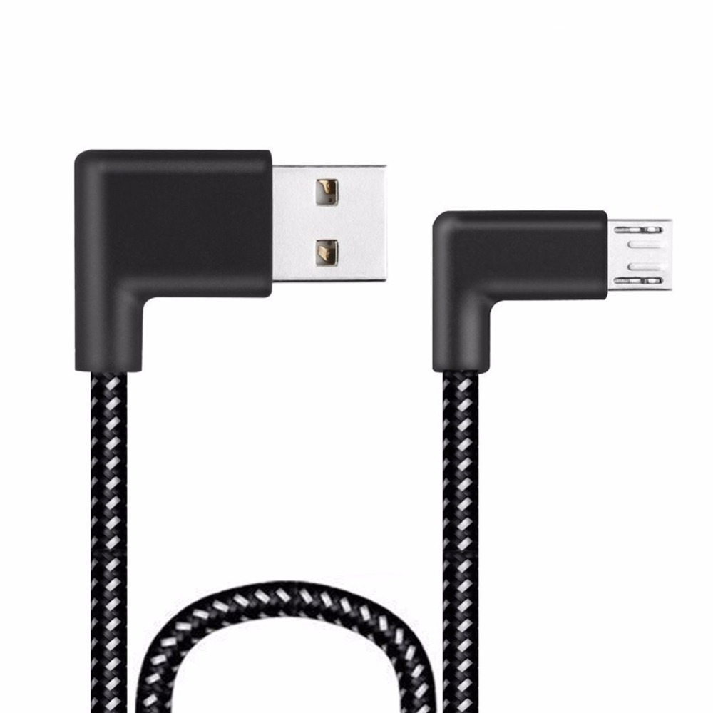0.2/1/3/2m L Shape Connector Micro USB Charging Cable 90 Degree Right Angle Black Nylon Braid Data Sync Transfer Cord Wire Line 1m zinc alloy connector pu braided usb data sync cable usb 3 1 type c 2a fast quick charging cord awg cooper wire charger
