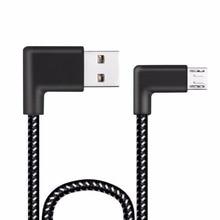 0.2/1/3/2 м L Форма разъем Micro Зарядка через USB кабель для передачи данных угол 90 градусов черный нейлон ткачество синхронизации передачи данных Шнур Провода линии