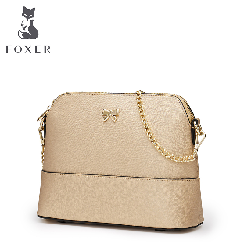 FOXER Brand Women Fashion Cow Leather Bags Ladies Crossbody for Women Female Leather bag Small Metal Chain Shoulder bag foxer brand women s bag fashion chain embossing cow leather crossbody bag messenger bag for women female shoulder bags