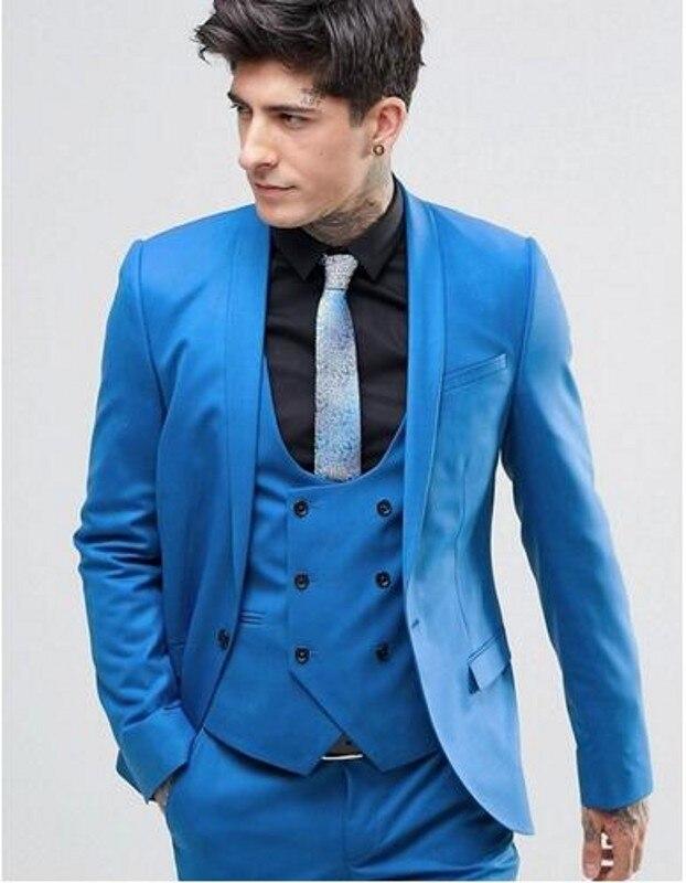 (Пиджак + брюки + жилет + галстук) ярко-синий 3 шт. свадебные костюмы для мужчин одна кнопка смокинг для жениха деловые костюм мужские костюмы