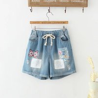 Japanese School Of Female Women Retro Back To Do The Old Embroidery Owl Stitching Denim Shorts