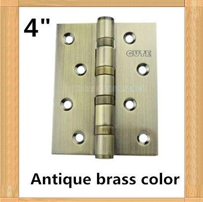 Un par 2 unids top brand GUTE alta calidad 4 pulgadas muebles bisagra 304 bisagra de acero inoxidable de color latón antiguo bisagra de la puerta