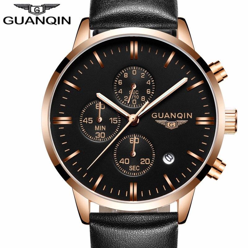 Prix pour Mens Montres Haut Marque De Luxe GUANQIN Hommes Militaire Sport Lumineux Montre-Bracelet Chronographe En Cuir Quartz Montre relogio masculino