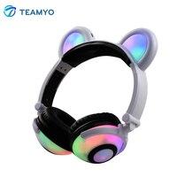 Teamyo Hot Flashing Glowing Ear Headphones Bluetooth Headset Wireless Headphones Earphone With LED Light Fashion Gaming