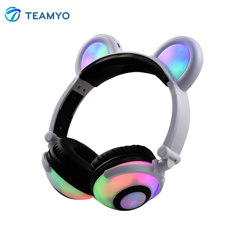 Teamyo Flashing Glowing ear headphones with microphone Bluetooth Headset Earphone light fashion gaming headphones for computer foldable flashing glowing cat ear headphones gaming headset earphone with led light luminous for pc laptop computer mobile phone