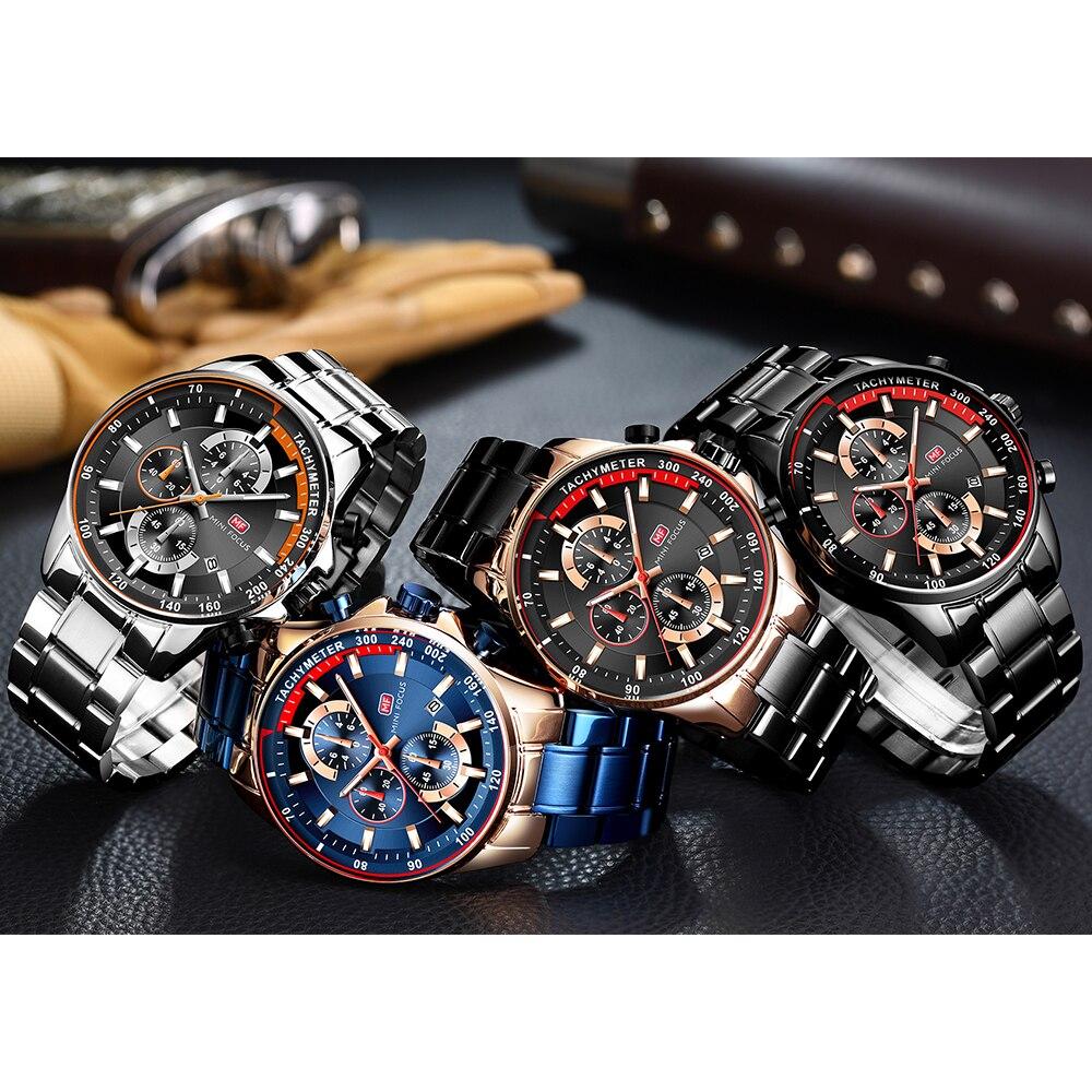Image 5 - MINI FOCUS Luxury Brand Men Watches Stainless Steel Fashion Mens Wristwatch Quartz Watch Mens Waterproof Relogio Masculino BlueQuartz Watches   -
