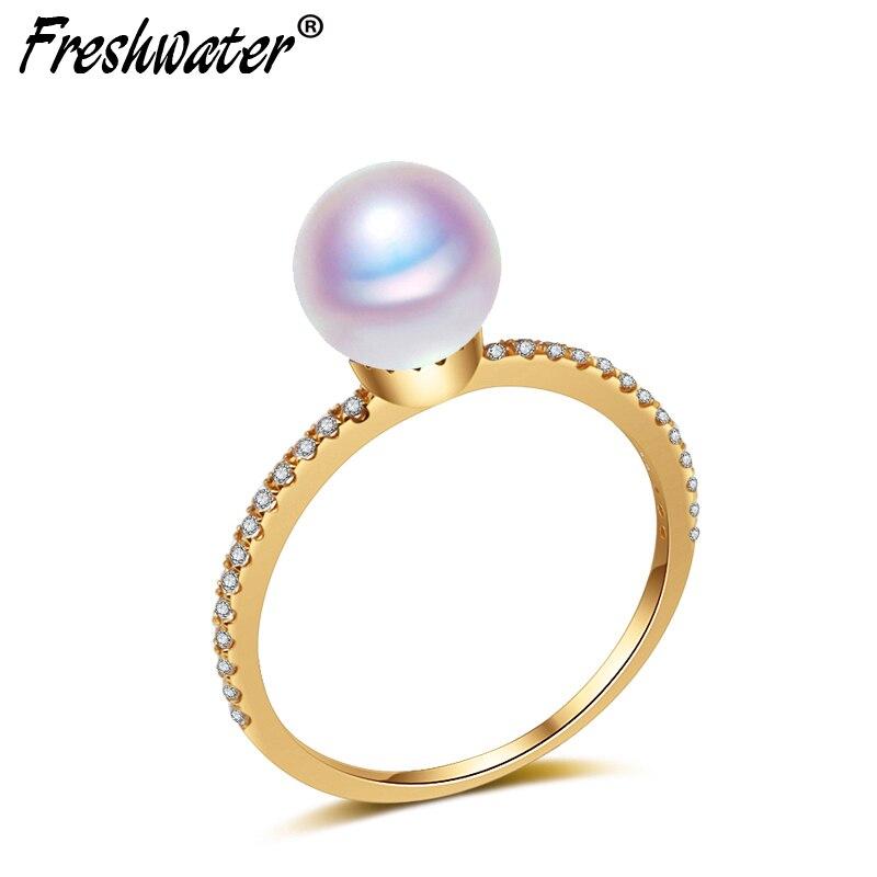 Bonne qualité AAA réel 18ct or anneau femme, fiançailles ronde naturel Japon perle anneau meilleur cadeau
