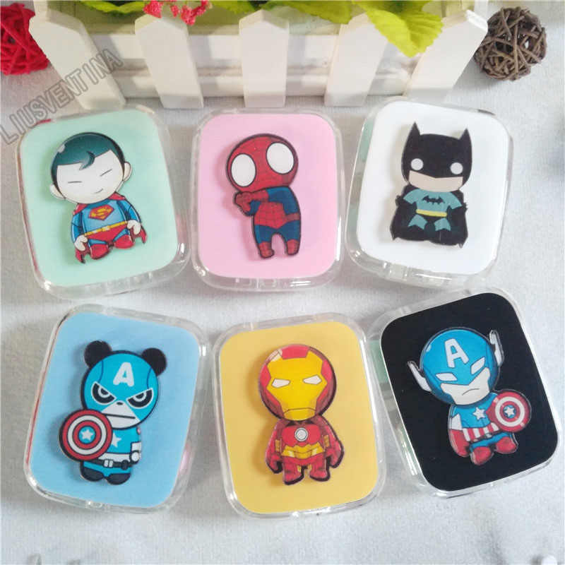 LIUSVENTINA DIY Acryl Leuke Batman Superman Iron Man Captain America Contact Lens Case Box met Spiegel Container voor Kleur Lens