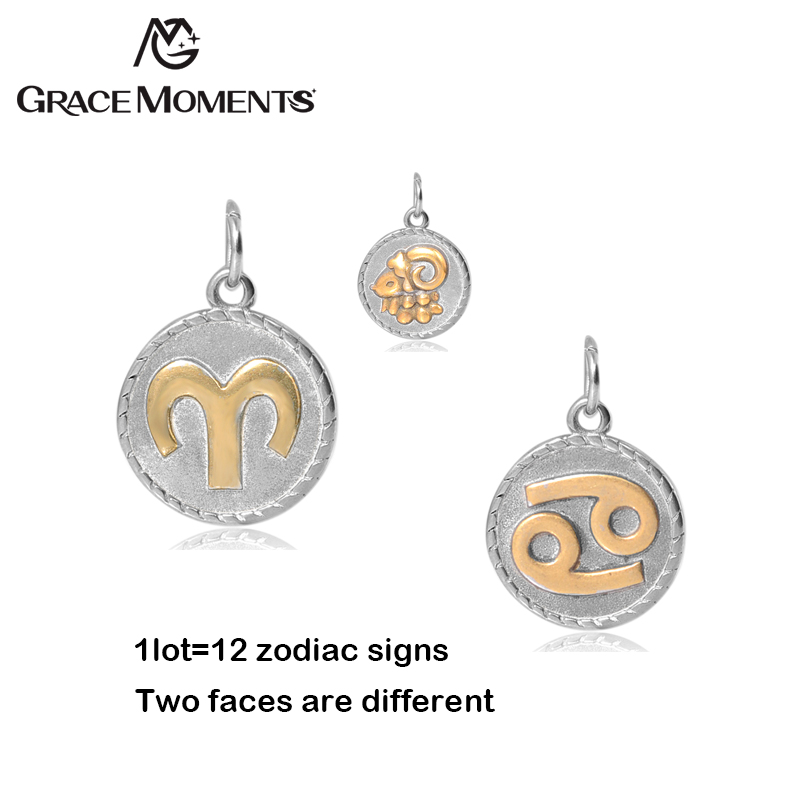 Grace Moments 12pcs/lot 18mm Two Tones Zodiac Charms DIY Constellation Charms Stainless Steel for Making Jewelry Different Signs
