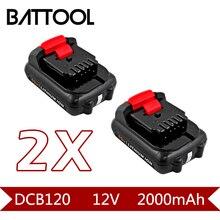 2X2000 mAh 12 V Bateria Recarregável de Li-ion DCB120: Dewalt DCB120, DCB100, DCT410S1, DCT414S1, DCL510, DCF610, DCF610S2, DCD710