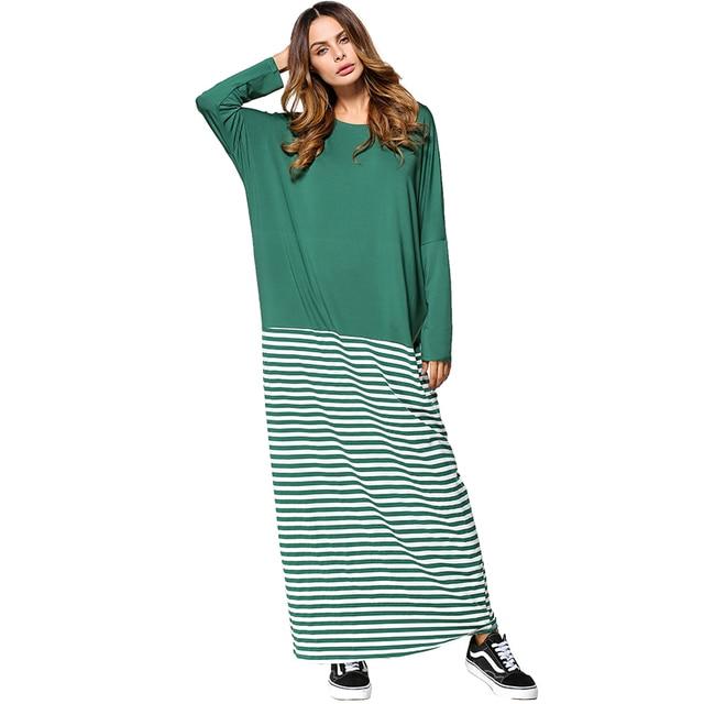 d019a329dbc Babalet Womens  Modest Muslim Islamic Clothing Loose O-Neck Full Length  Stripe Long Sleeve Saudi Arabia Dubai Abaya Maxi Dress