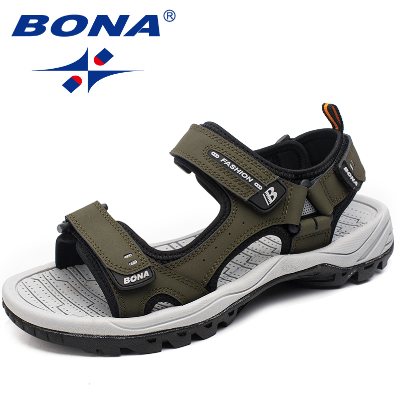 BONA Men Sandals Summer Shoes Anti-Slippery Outdoor Walking Comfortable Soft Classics-Style