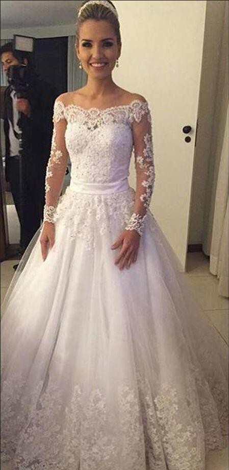 Lace wedding dresses long sleeve off the shoulder beaded for Wedding dresses to buy off the rack
