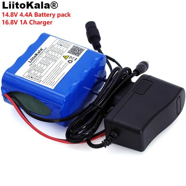 LiitoKala 14.8 فولت 4.4Ah 18650 li iom بطارية حزمة ليلة لمبة صيد سخان مصباح التعدين مكبر للصوت بطارية مع نظام إدارة البطارية + شاحن 16.8 فولت