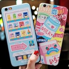 Japonês dos desenhos animados máquina de venda automática delicioso lanche emboss estojo para iphone xs max para xr xs x capa para iphone 6 s 7 8 plus caso