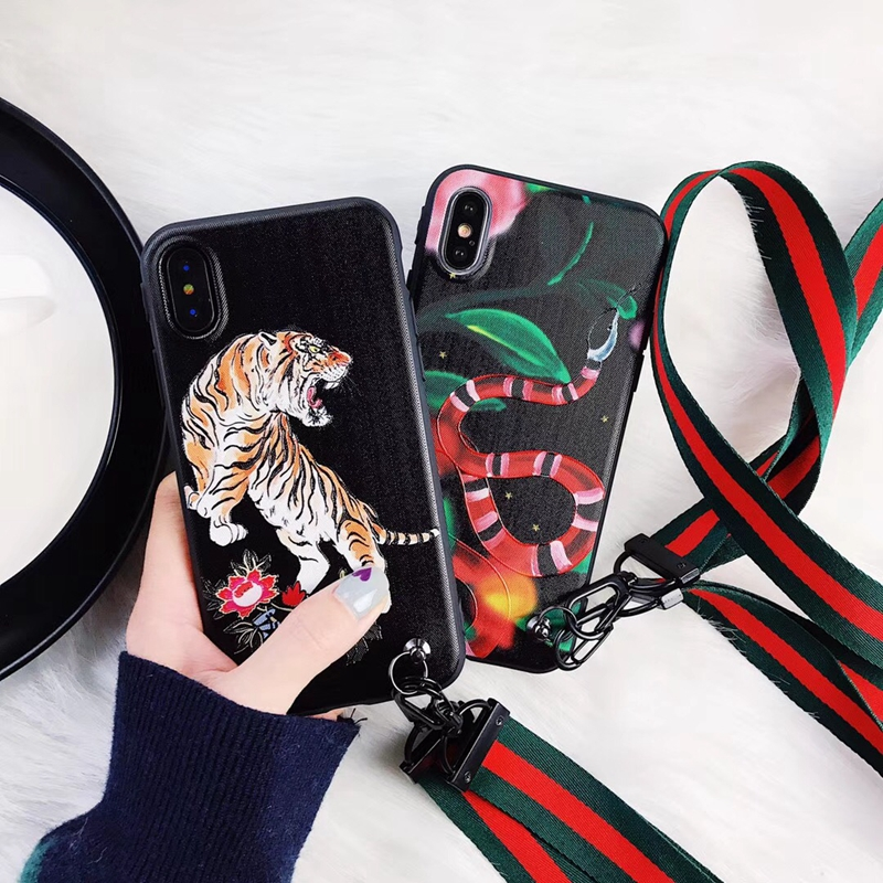 Luxury Italy Brands Style GUCI Red Snake Back Cover For Iphone 7 7Plus 6 6Plus New Animal Tiger Relief Cover IMD Soft Phone Case