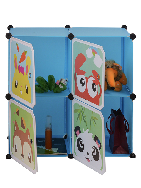 Children Simple Wardrobes DIY PVC Fold Portable Storage Cabinet Dormitory Steel Frame Assembly Student Wardrobe Free Shipping 3