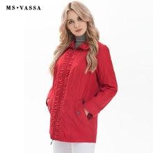 MS Vassa Женская куртка повседневная женская весна радует размер куртка сплошной цвет Большие размеры 5XL 10XL отложной воротник верхняя одежда
