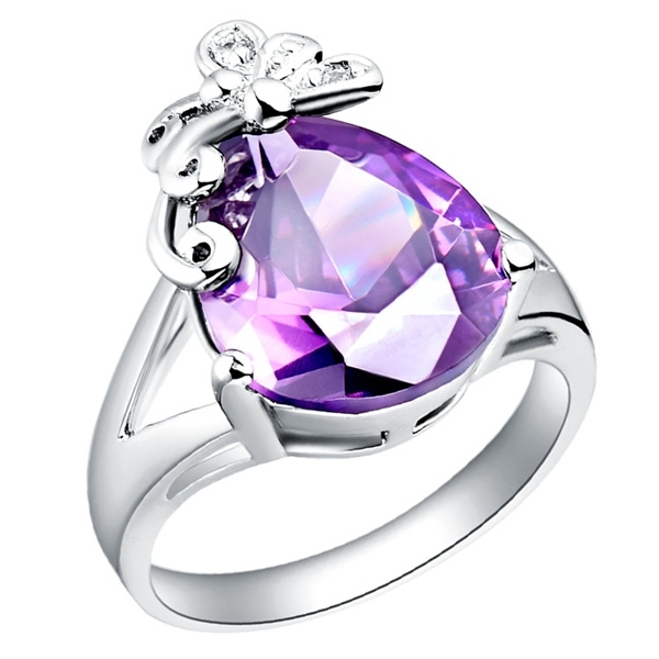 2016 Sale Woman Wedding 925 Silver Ring Anel for Rings for Women Bague Simulated Ruby Fashion Jewelry Purple Red Uloveido J095
