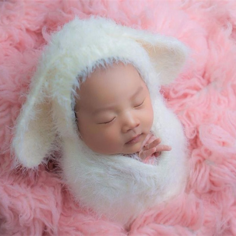 Bunny Hat and Wrap Set Knitted Fluffy Stretch Jersey Wrap Set Crochet Chunky Baby Layering Fabric Newborn Swaddle Blanket Props