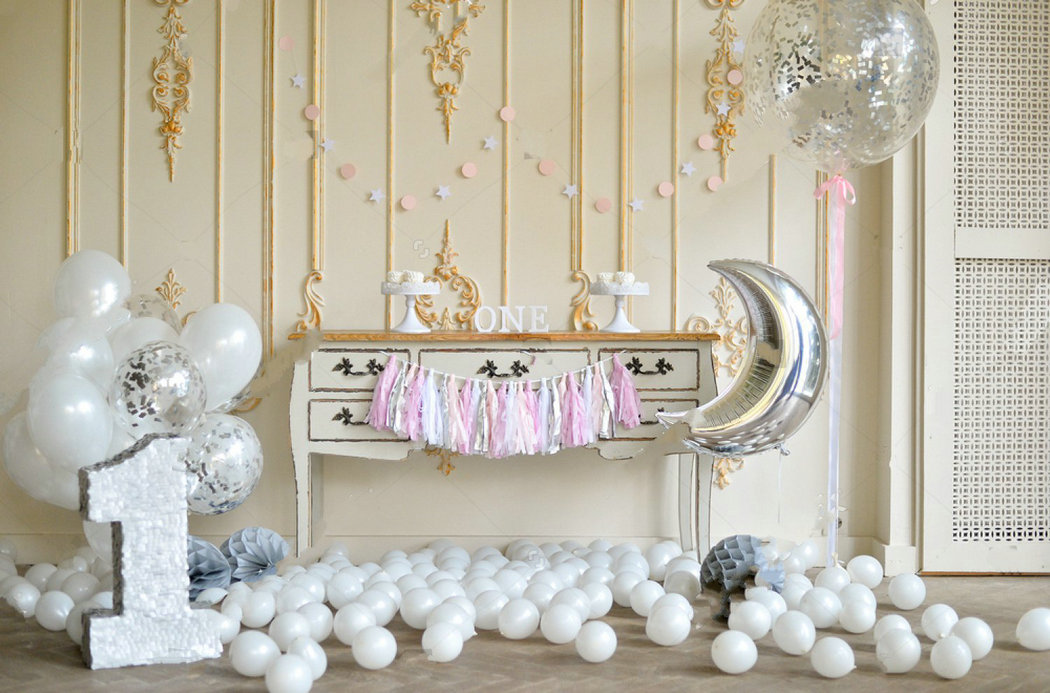 1st birthday decorations moon white balloons backdrops Vinyl cloth High quality Computer print party backgrounds
