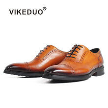 VIKEDUO 2019 New Mens Formal Dress Shoes Patina Vintage Brogue Footwear Wedding Office Handmade Shoe Genuine Cow Leather Zapato