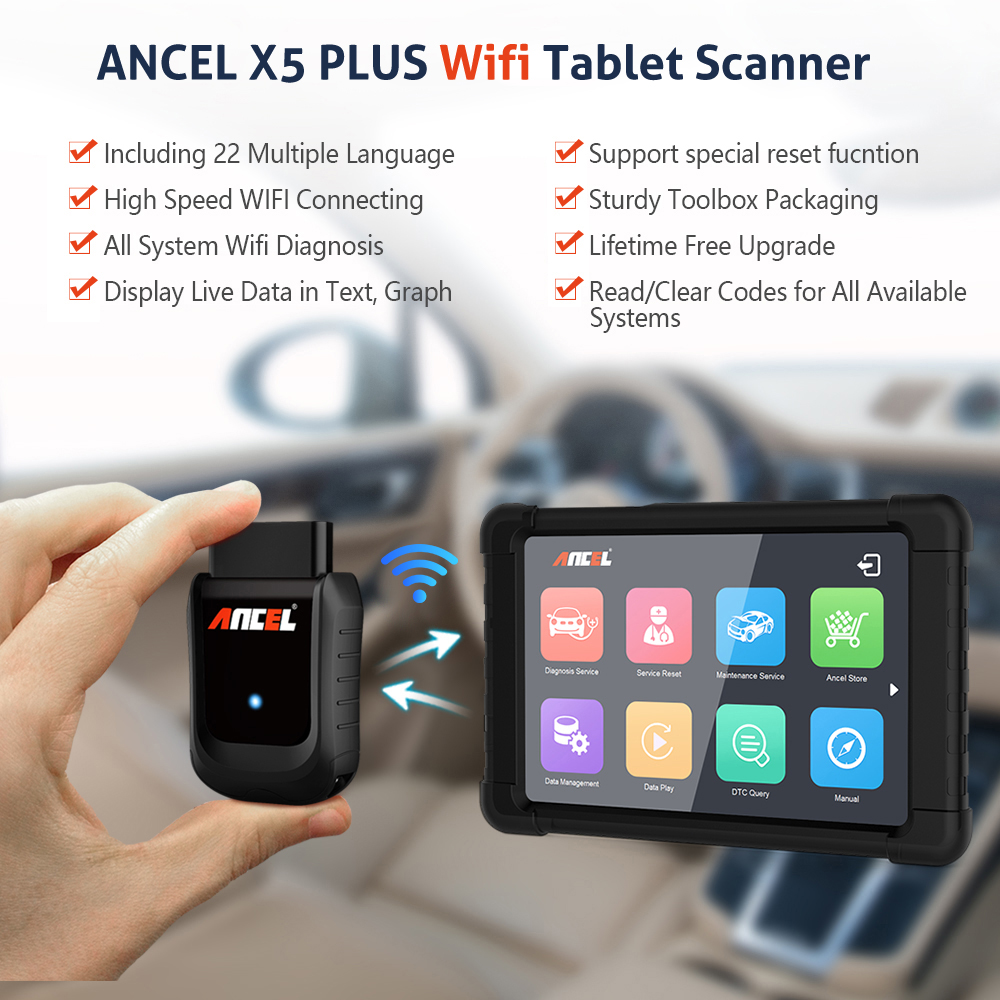 Image 2 - Ancel X5 Wifi Professional Automotive Scanner Full System Car Diagnostic Tool Oil EPB ABS SRS Rest Scanner OBD2 Auto Scanner X5 on