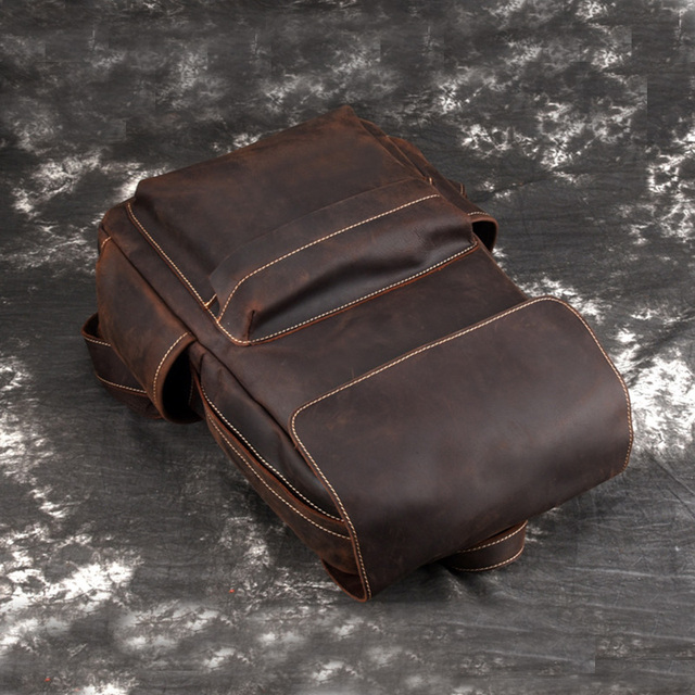 Unisex Travel Bag Vintage Brown Genuine Cowhide 14″