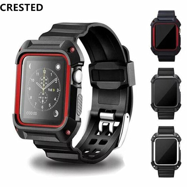 Хохлатая спортивный ремешок для Apple Watch 3 42 мм/38 мм для iwatch 3/2/1 запястье браслет резиновый ремешок для часов с защитный чехол