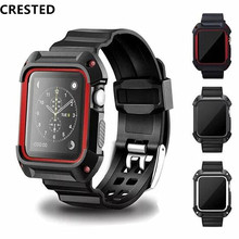 Sport watch strap with Protective case for apple band 38/42mm wrist bracelet Rubber watchband+Cover iwatch Series 2/1