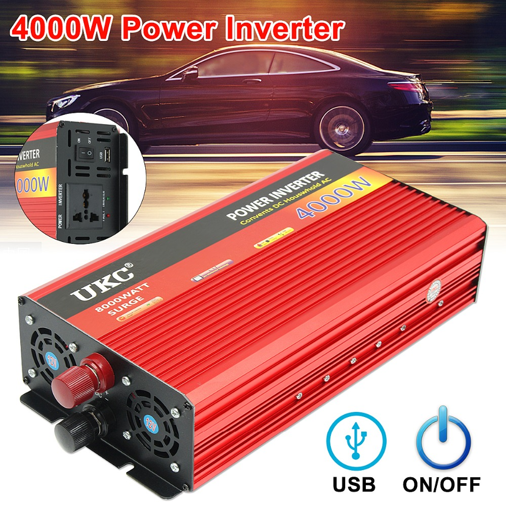 UKC Onduleur 12 v 220 v 4000 w 8000 w Pic-Onde sinusoïdale Modifiée Power Inverter DC12V à AC220V tension Transformateur Convertisseur USB