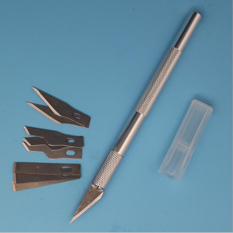 9 Blades Wood Carving Tools Aluminum Alloy Fruit Food Craft Sculpture Engraving Knife Scalpel DIY Cutting Tool PCB Repair