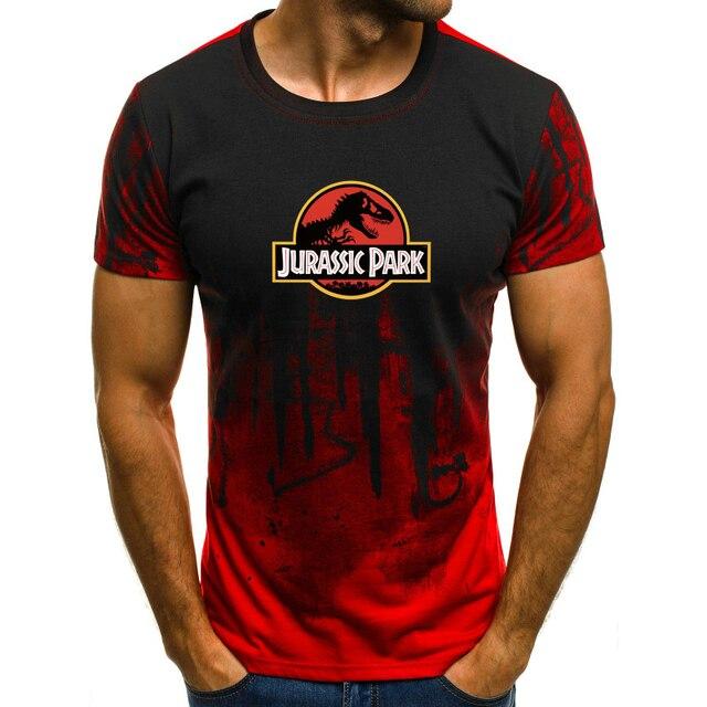 Hot New Summer Jurassic World Dinosaur T Shirt Men O Neck Short
