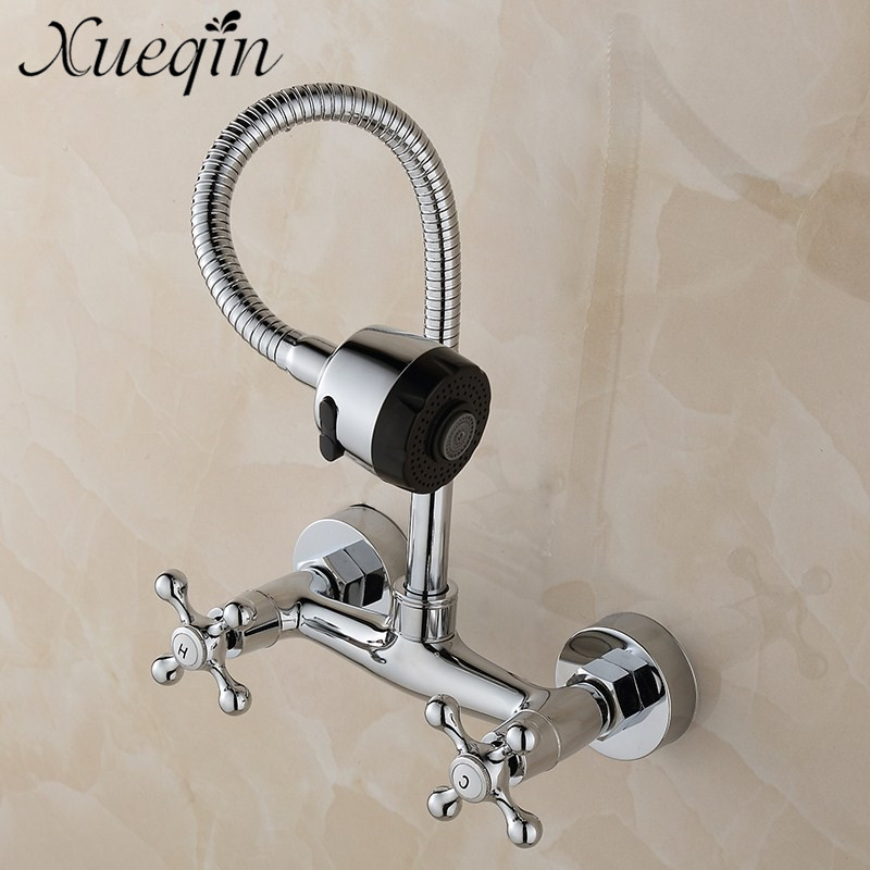 Xueqin 360 Swivel Spout 2 Modes Bathroom Kitchen Wall Mounted Brass Sink Faucet Tap Durable Chrome Basin Faucet Taps Water MixerXueqin 360 Swivel Spout 2 Modes Bathroom Kitchen Wall Mounted Brass Sink Faucet Tap Durable Chrome Basin Faucet Taps Water Mixer