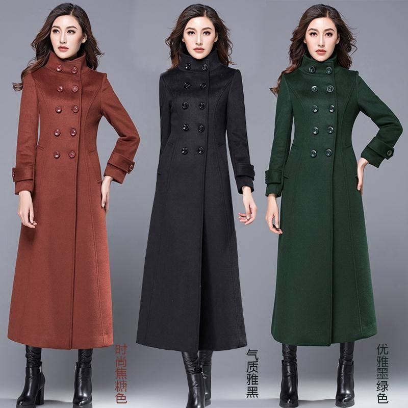 M155 Stehkragen Weibliche 2019 Herbst green Winter Dicken Kaschmir Dünne Woll Frauen Jacken Schwarzes Langen Zweireiher Mantel Dame brown qX6f7Xw