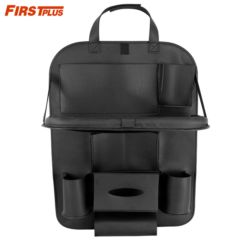 10 Pockets Pu Leather Car Back Seat Organizer With Foldable Tray