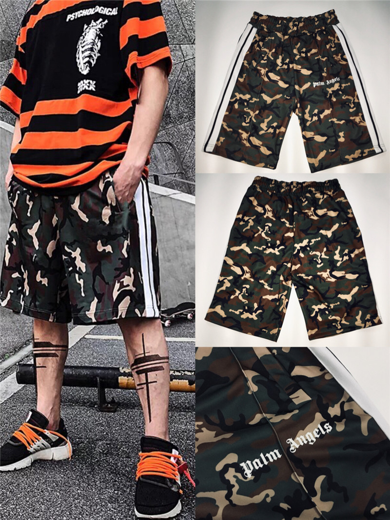 2019ss Palm Angels Track Shorts Over Size Camouflage Shorts Men Justin Bieber Masculino Palm Angels Summer Short Streetwear