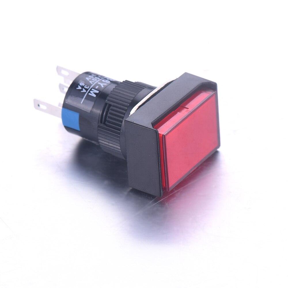 5Pcs/Lot LA16J-11D 5PIN 16mm Self-reset Push Button Switch Red Green LED light choice Micro Rectangle Switch AC 220V/DC12V 1 x 16mm od led ring illuminated latching push button switch 2no 2nc