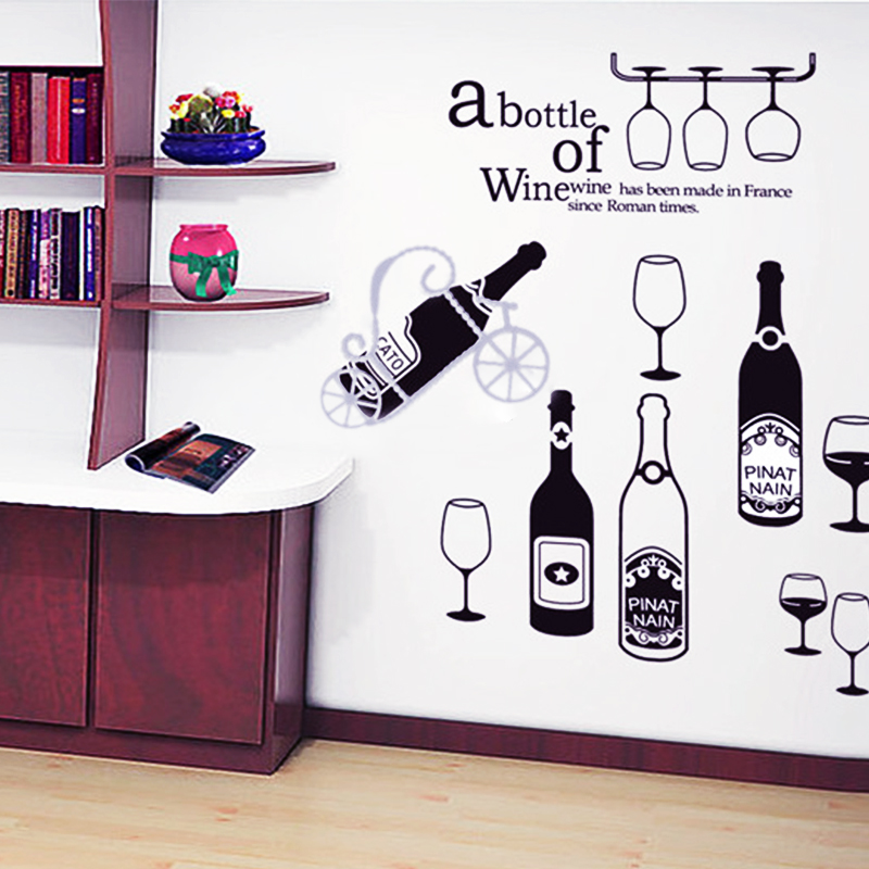 Red Wine Cup Bar Table Coffee Window Glass Bottle Removable Wall Decals Wall Stickers Kitchen Decor
