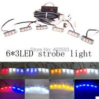 6 3 LED 18LED Strobe Flash Warning Police Light Flashing Emergency Firemen Lamp AMBER The Ambulance