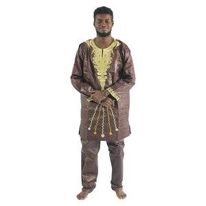 Image 5 - MD 2020 แอฟริกัน Bazin Riche Mens แอฟริกันแบบดั้งเดิมเสื้อผ้าเสื้อผ้าแขนยาวกางเกงชุด afrikanische herrenbekleidung PH47