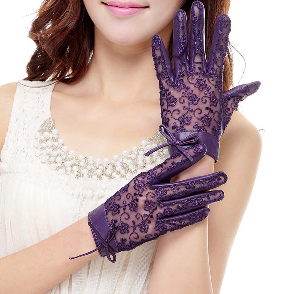 Womens unlined leather gloves - Women S Medival Lolita Genuine Nappa Leather Lace Unlined Leather Gloves