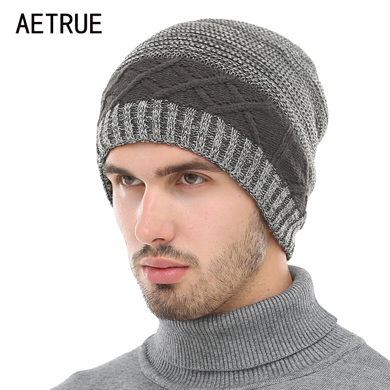 AETRUE Winter Beanie Knit Hat Skullies Beanies Men Caps Warm Baggy Balaclava Mask Fashion Winter Hats For Men Women Knitted Hat