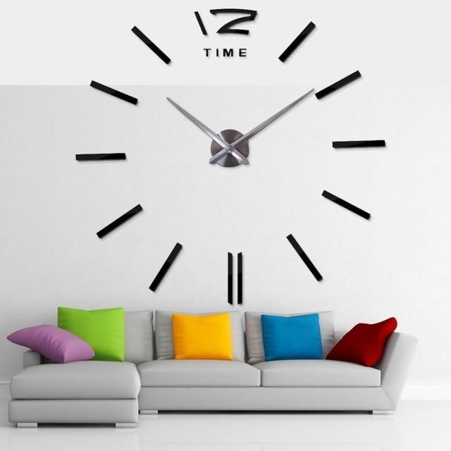 Design Moderno relógio de parede Grande Espelho Relógios De Parede Digital de Adesivos de Parede Relógio de Parede Presente Original de Decoração Para Casa Navio Livre