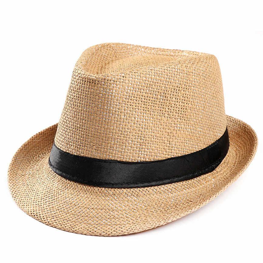 Güneş şapkası Unisex Kadın Erkek Moda Yaz Rahat Moda Plaj Güneş Hasır Panama Caz Şapka Kovboy fedora şapka Gangster Kap J #28