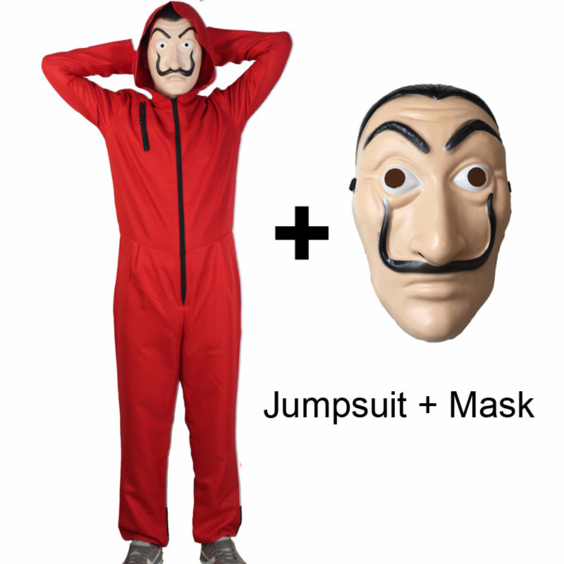 Adult Kids Salvador Dali Movie Costume Money Heist The House of Paper La Casa De Papel Cosplay Halloween Party Costumes image