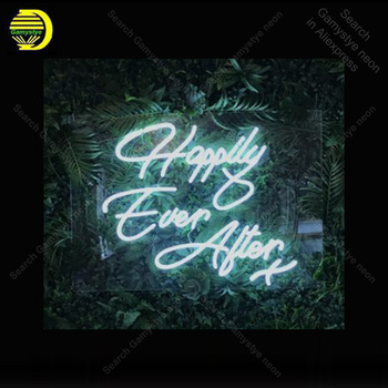 NEON SIGN For Happily Ever After wedding Sign light lampara neon signs sale vintage neon light for Windower wall custom made neon signs for corona guitar neon bulb sign beer bar pub neon light sign store display lamps glass with clear board dropshipping