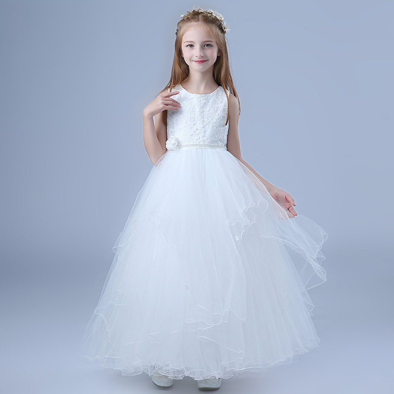 Sweet Elegant Glitz Angel Embroidery Girl Princess Party Dress Kids Clothes Teenagers First Holy Communion Ceremony Prom Dress elegant glitz embroidery lace up flower girls dresses kids teenagers half sleeves bowknot holy communion birthday party dress