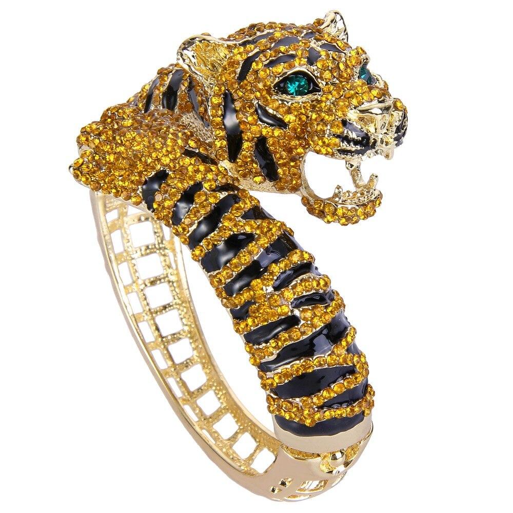 BELLA Gold Tone Brown Tiger Rhinestone Bracelets Bangles Austrian Crystal Animal Bracelets Cuff For Women Jewelry